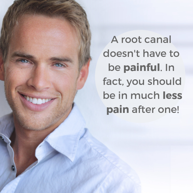 "Smiling man next to text that reads ""Root canals don't have to be painful."""